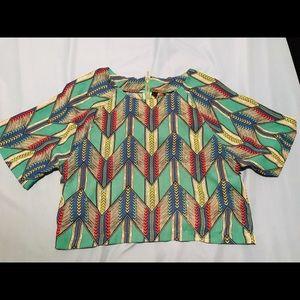 Fun & Flirt 100% Polyester Multi Print Blouse XS